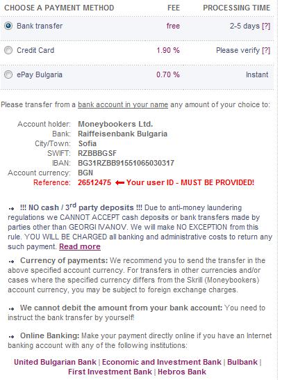 Избиране на метод за трансфер на средства към Мънибукърс сметката