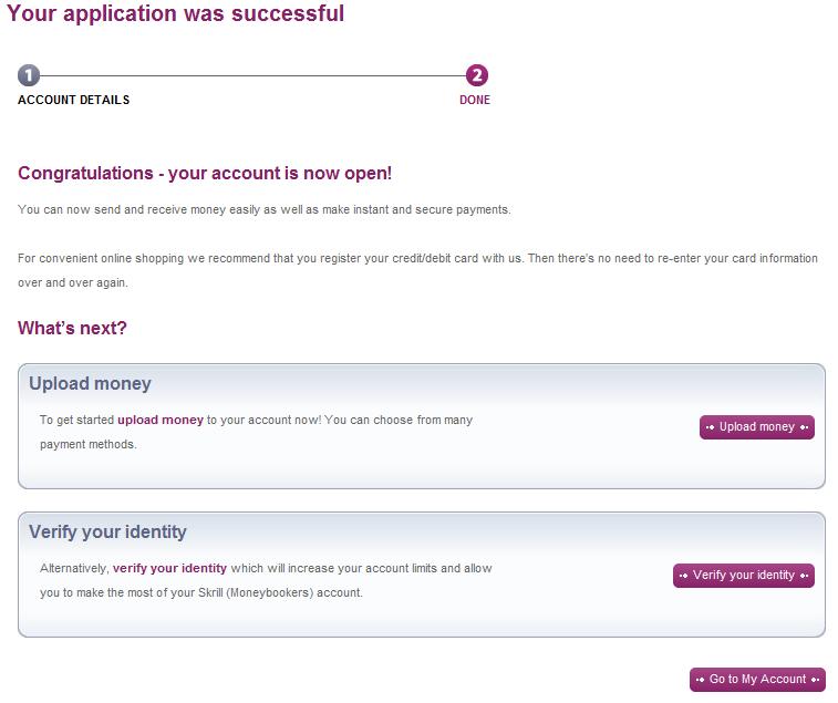 Страница потвърждаваща успешната ви регистрация в Мънибукърс